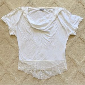 Michale Stars Oversized White Tee with Lacy Trim